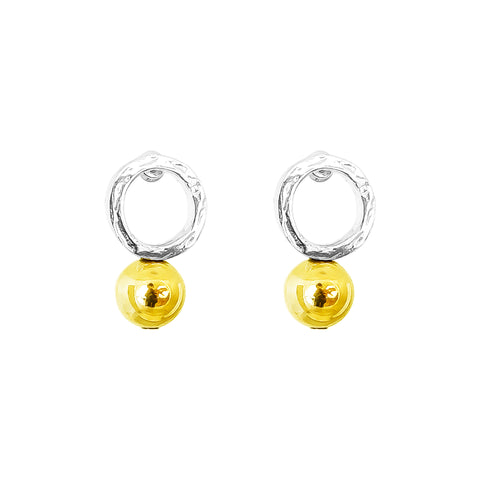 Radison Large Feature Stud Earrings | Polished Gold Detail