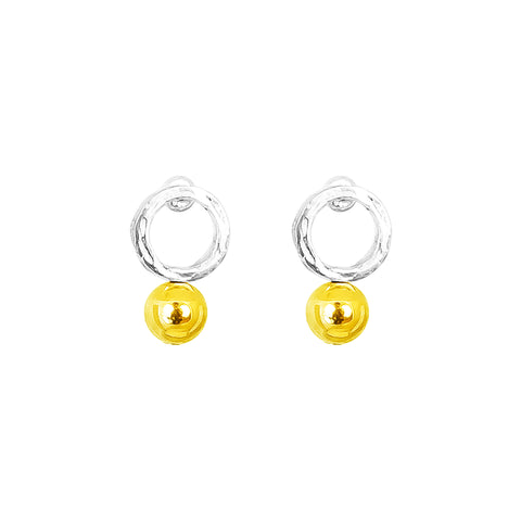 Radison Medium Feature Stud Earrings | Polished Gold Detail