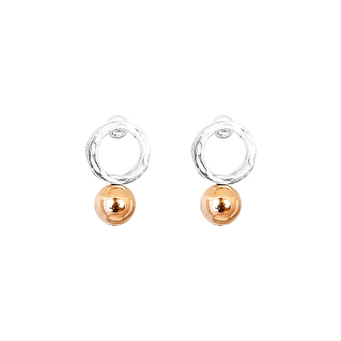 Radison Medium Feature Stud Earrings | Polished Rose Detail