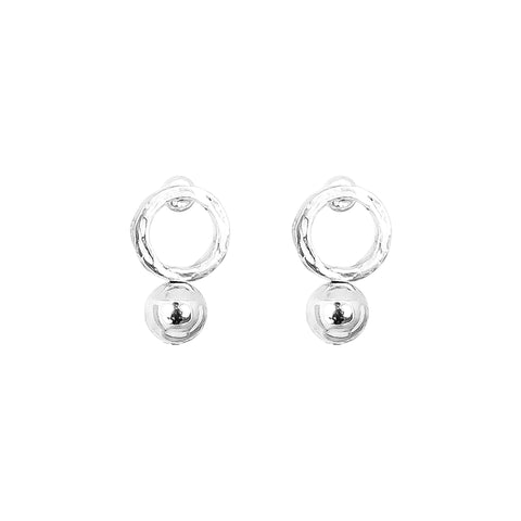 Radison Medium Feature Stud Earrings | Polished Silver Detail