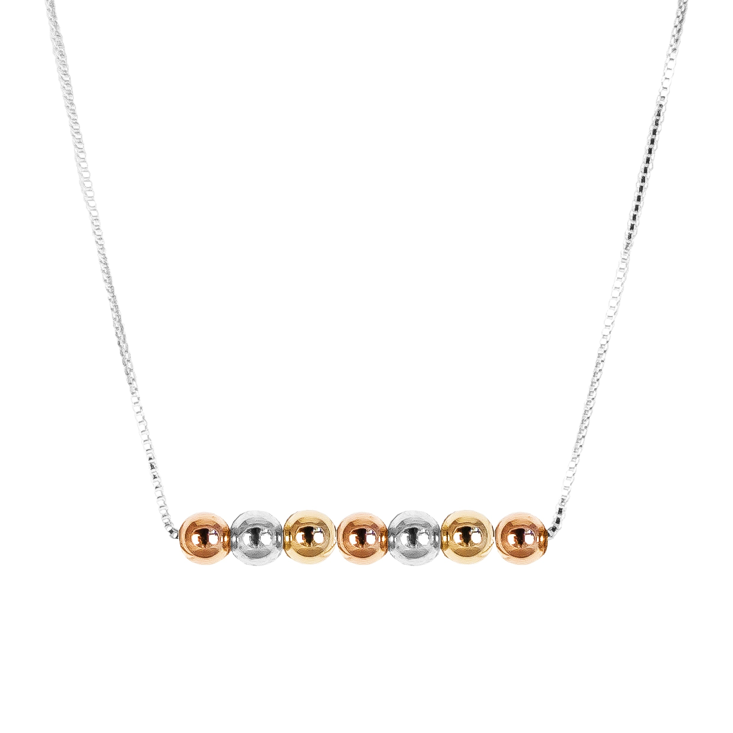 Skye Bar Necklace | Polished Gold, Rose And Silver Detail