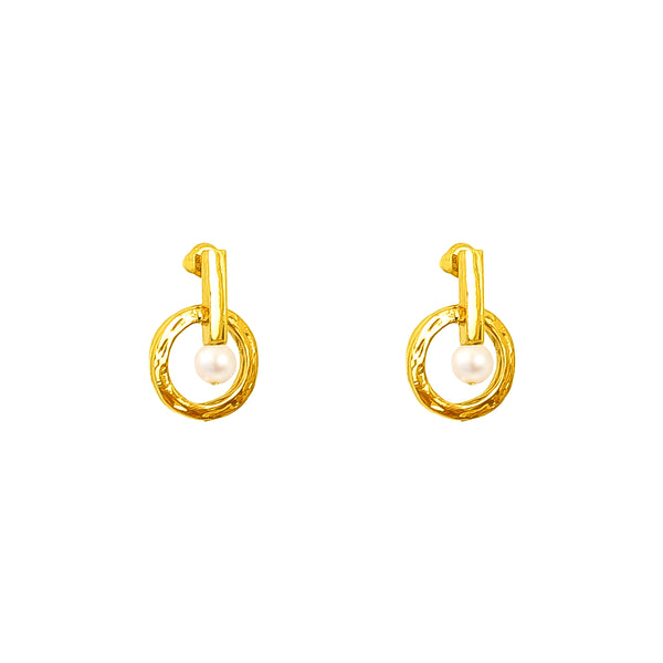 Taylor Stud Earrings | Gold With Pearl Detail