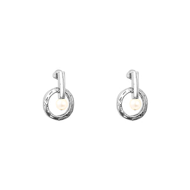 Taylor Stud Earrings | Silver With Pearl Detail