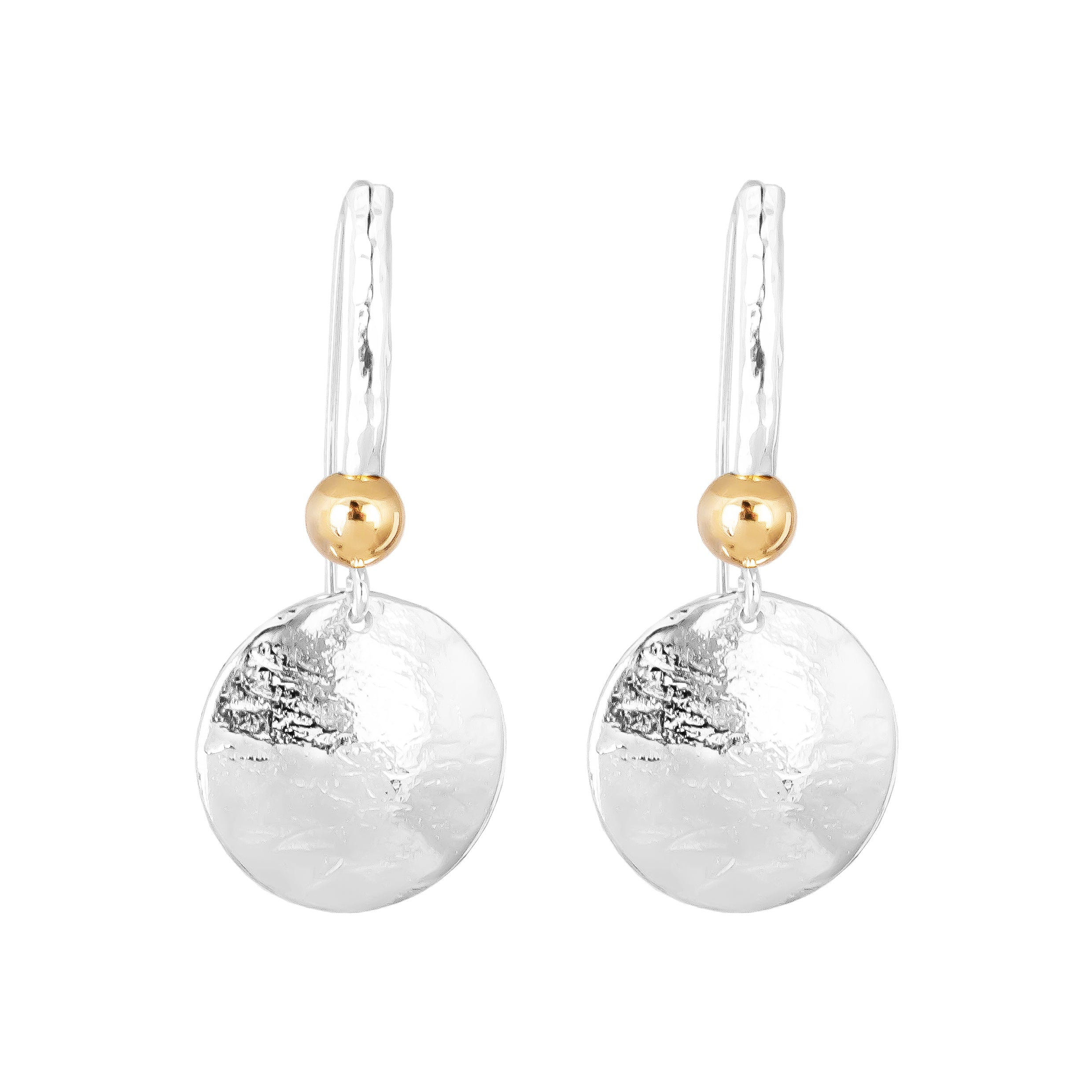 Tatla Disc Earrings With Statement Hook | Polished Gold Detail