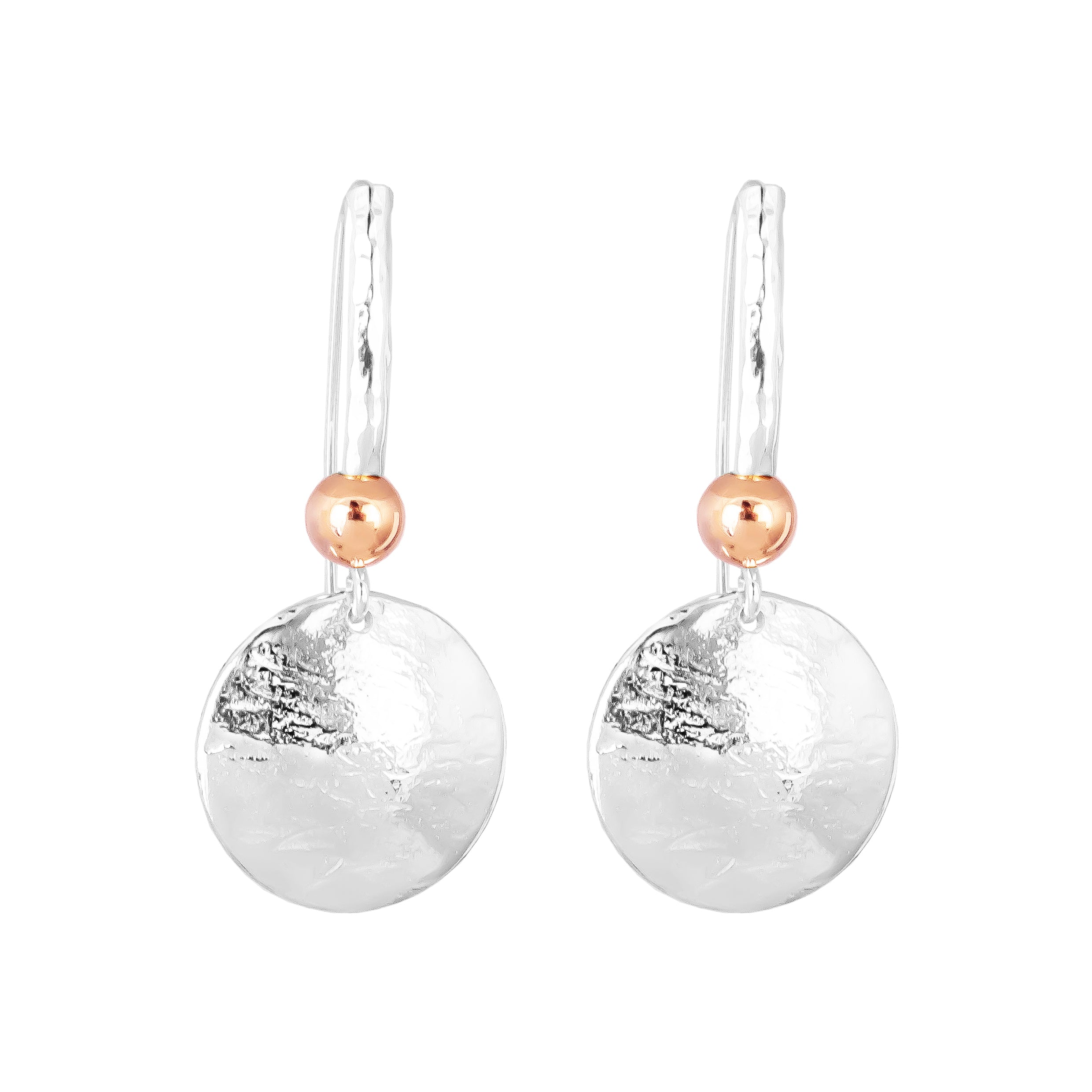 Tatla Disc Earrings With Statement Hook | Polished Rose Detail