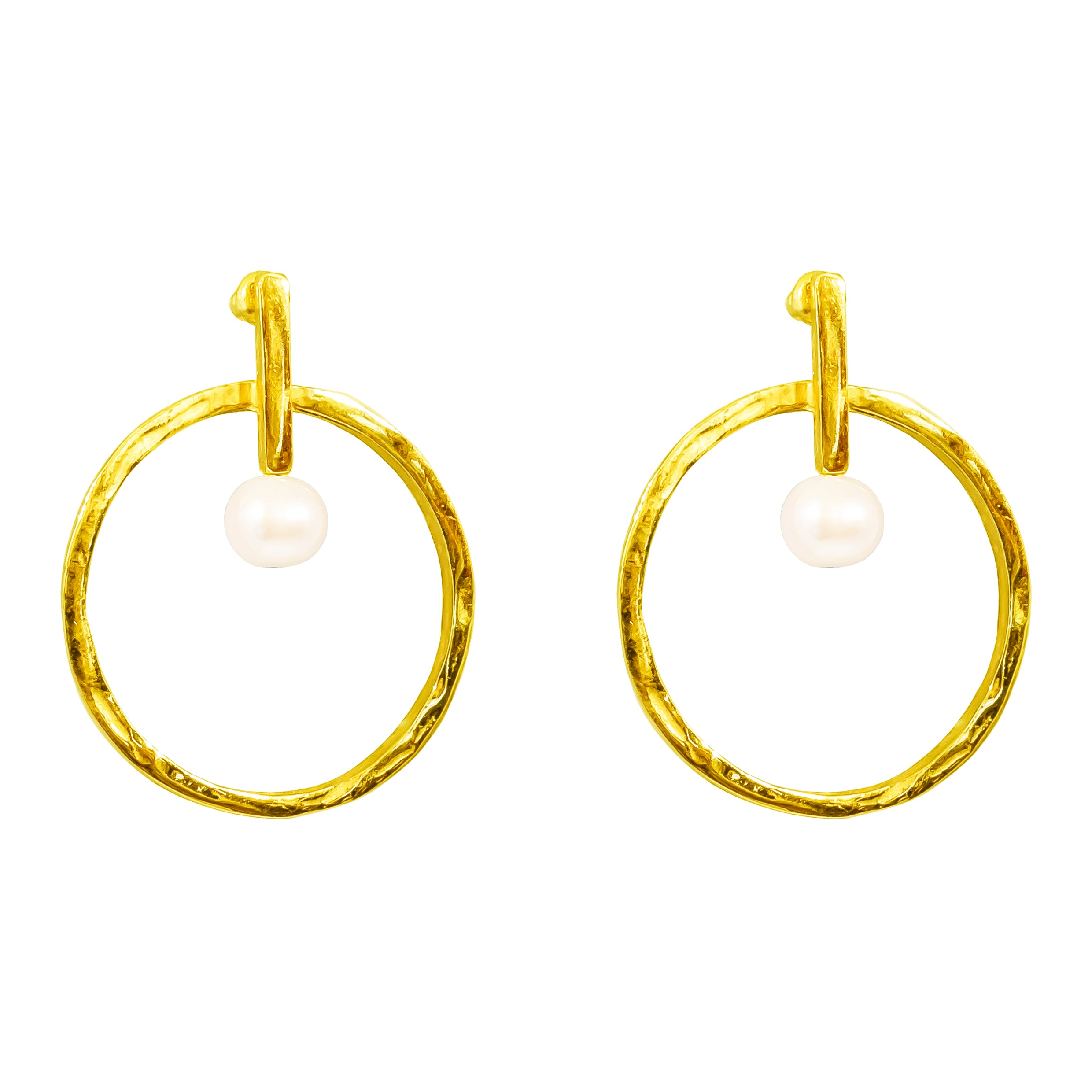 Taylor Large Earrings | Gold With Pearl Detail