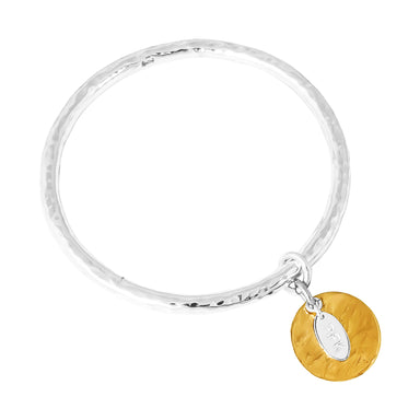 Teo Bangle | Hammered Gold Disc