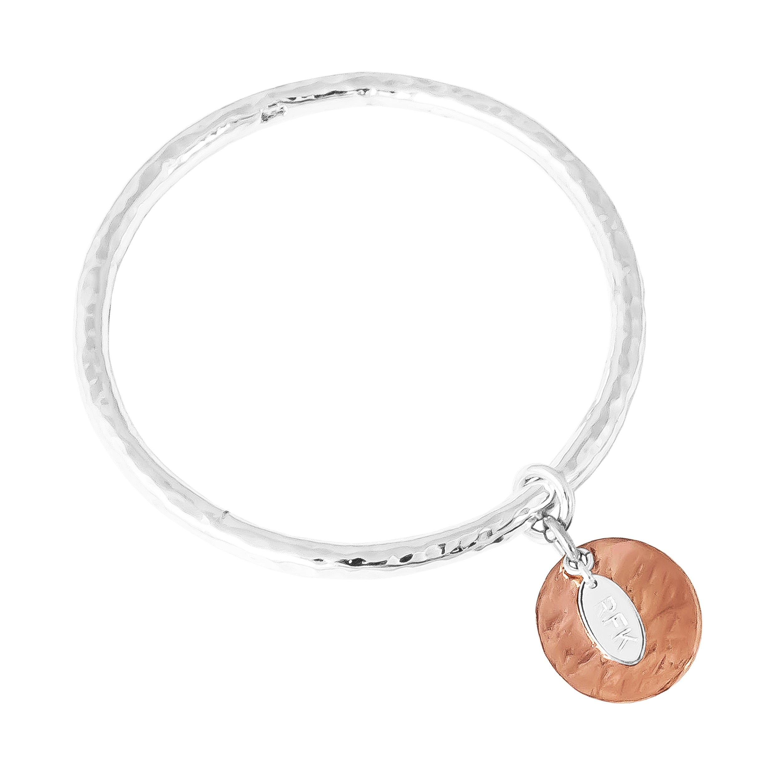 Teo Bangle | Hammered Rose Disc