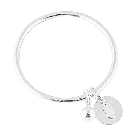 Teo Bangle | Hammered Silver Disc And Ball