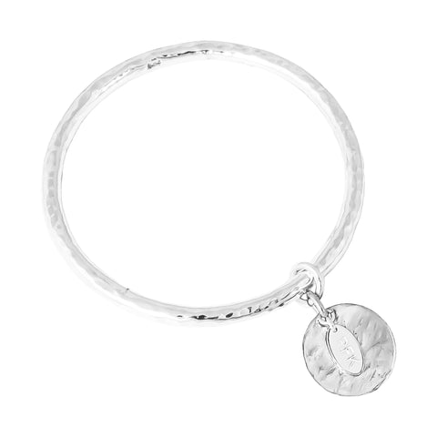 Teo Bangle | Hammered Silver Disc
