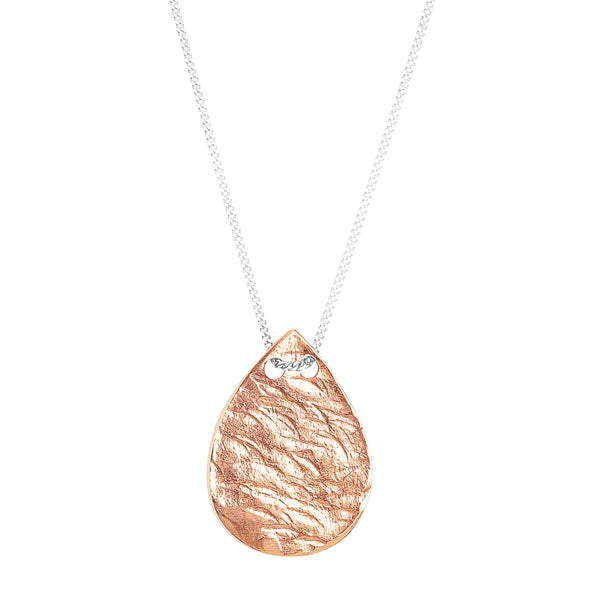 Tesa Hammered Teardrop Necklace | Rose