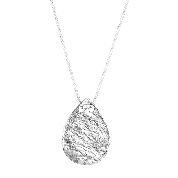 Tesa Hammered Teardrop Necklace | Silver