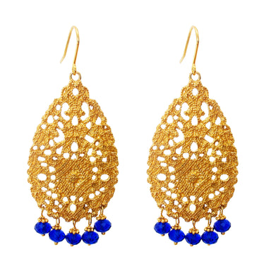 Treston Earrings | Gold With Blue Quartz Detail