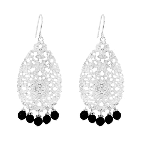 Treston Earrings | Silver With Black Onyx Detail