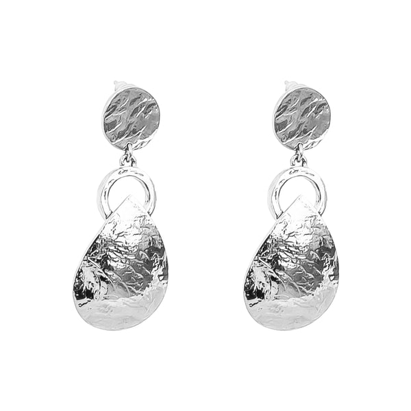 Tyra Hammered Earrings | Silver