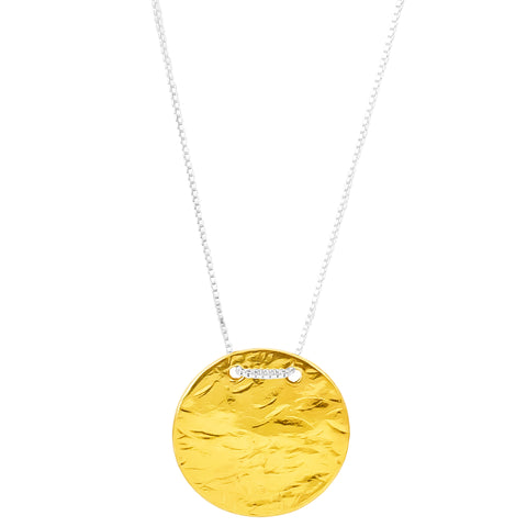 Vesper Large Disc Necklace - Long | Gold