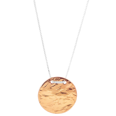 Vesper Large Disc Necklace - Long | Rose