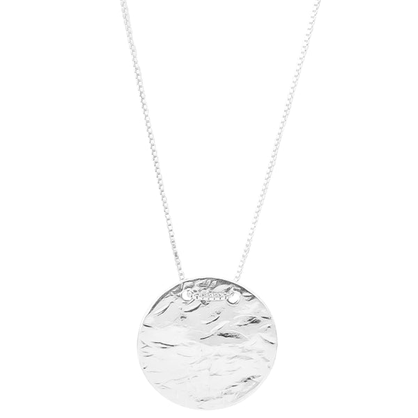 Vesper Large Disc Necklace - Long | Silver