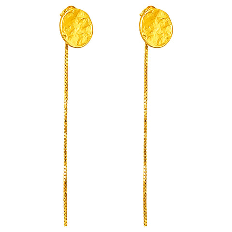 Vesper Stud Earrings With Chain Detail | Gold
