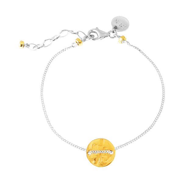 Vogue Fine Hammered Disc Bracelet | Gold Disc And Detail