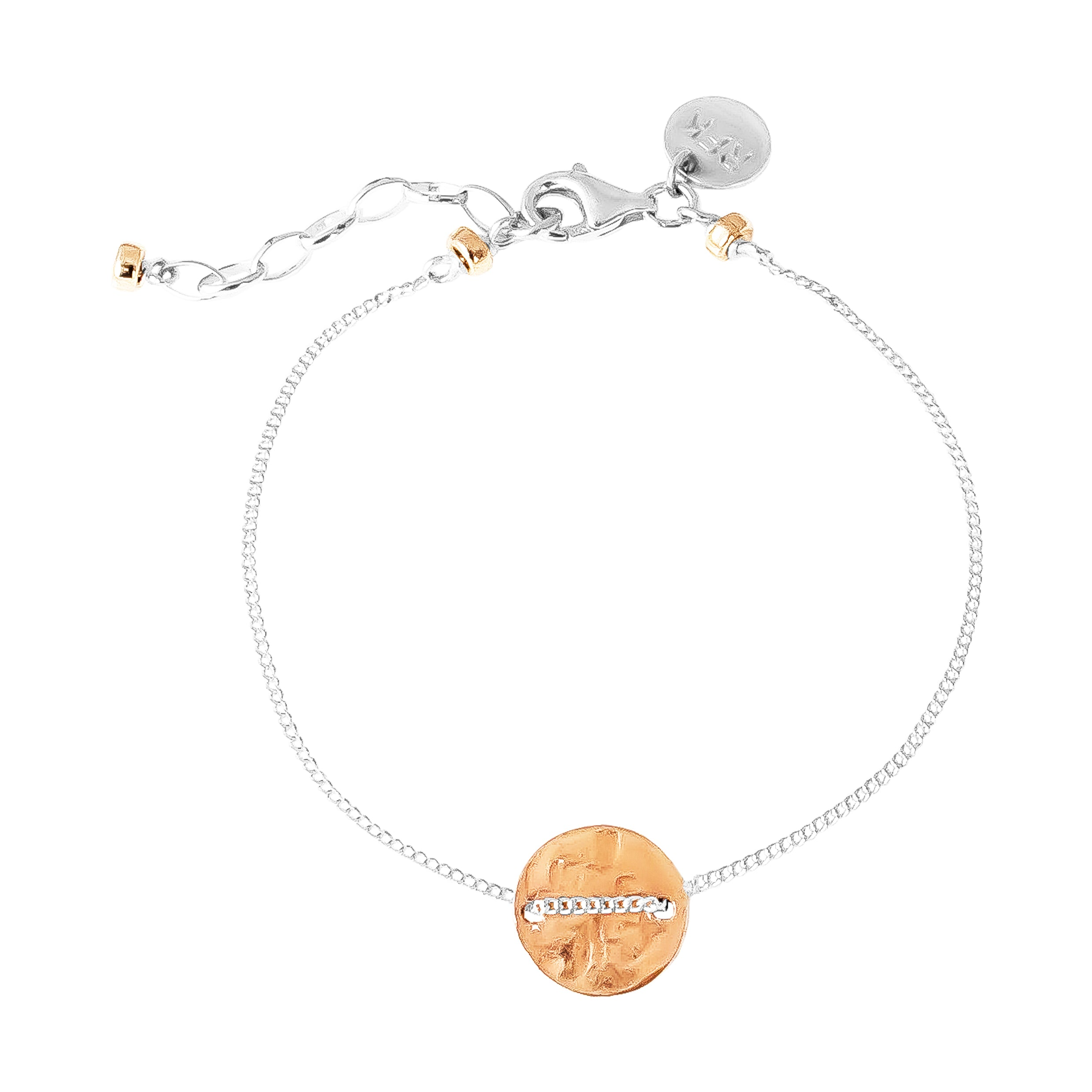 Vogue Fine Hammered Disc Bracelet | Rose Disc And Detail