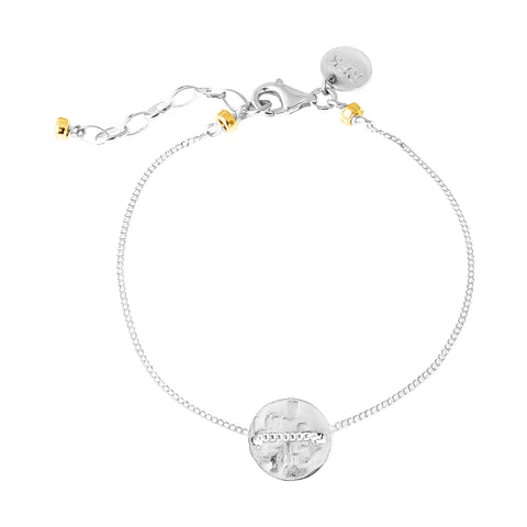 Vogue Fine Hammered Disc Bracelet | Silver Disc And Gold Detail