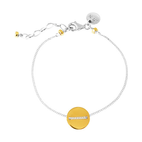 Vogue Fine Polished Disc Bracelet | Gold Disc And Detail