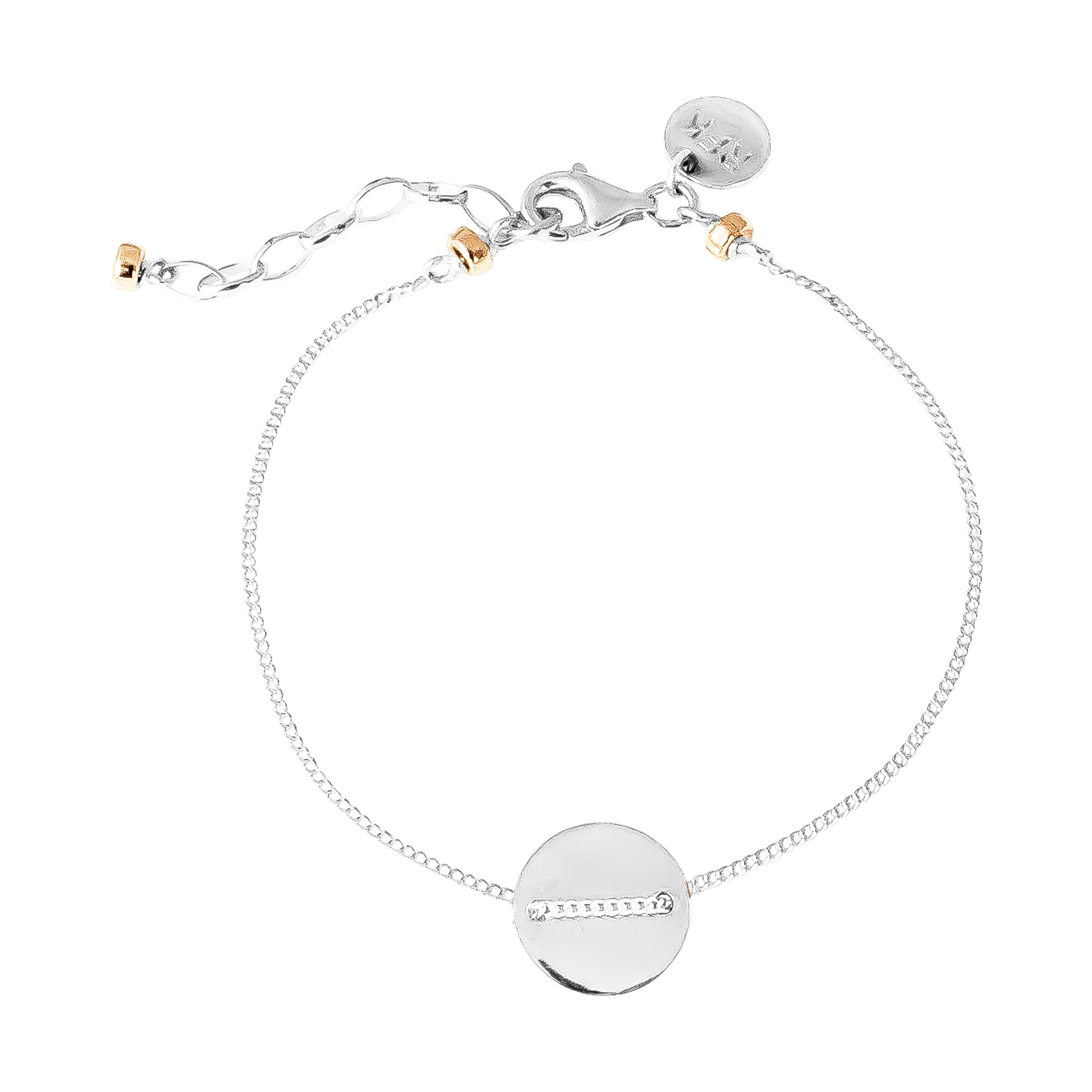 Vogue Fine Polished Disc Bracelet | Silver Disc And Rose Detail