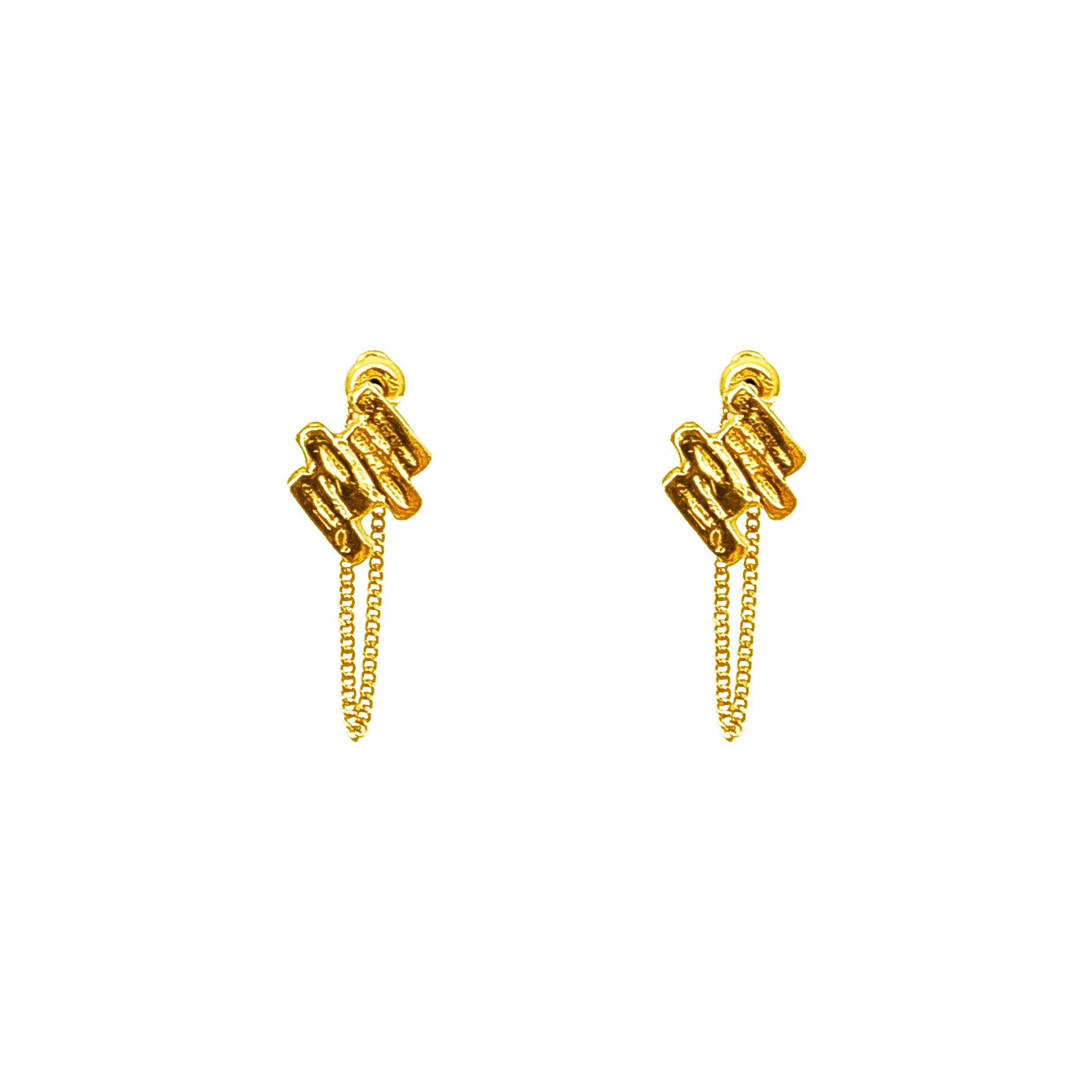 Zaine Stud Earrings With Chain | Gold