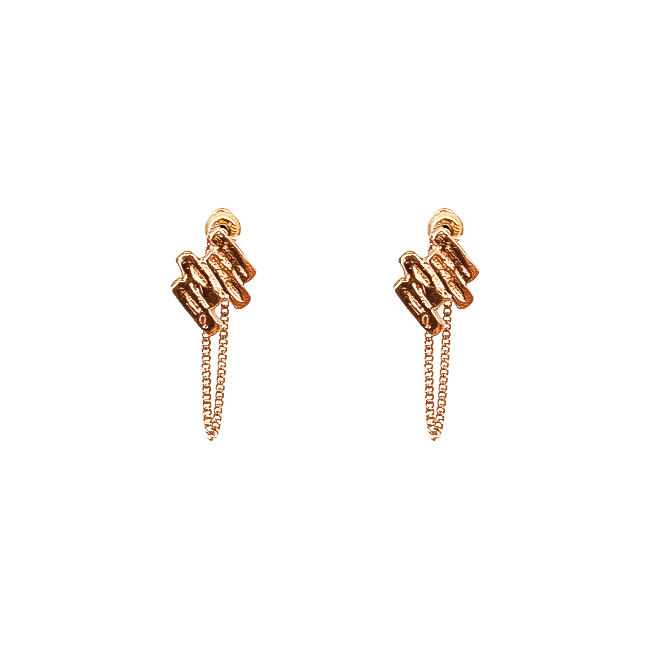 Zaine Stud Earrings With Chain | Rose