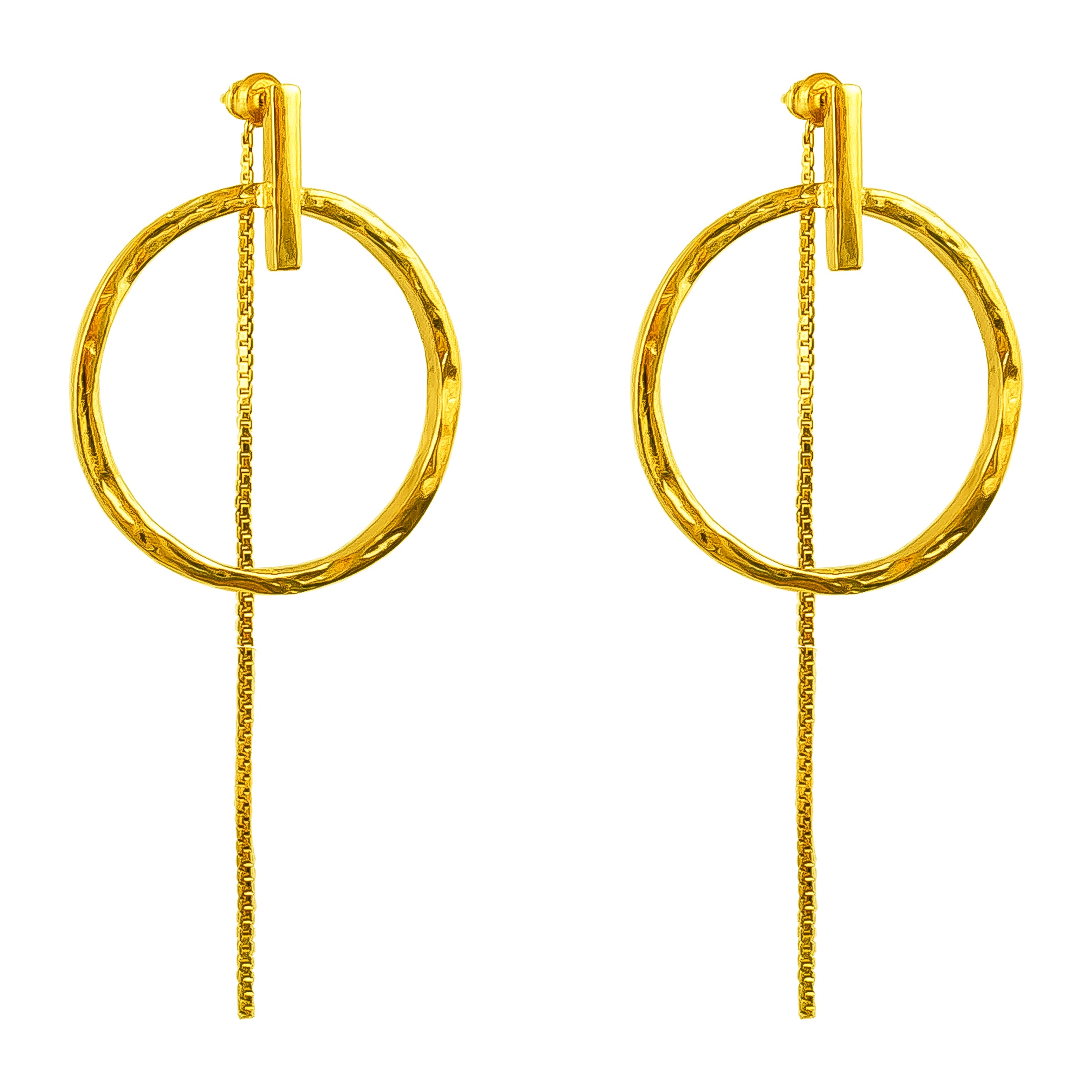 Zoe Large Earrings With Chain | Gold