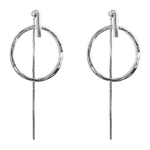 Zoe Large Earrings With Chain | Silver