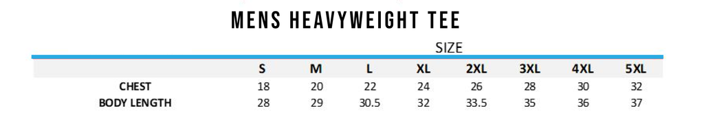 size chart for the heavy weight t-shirts savage