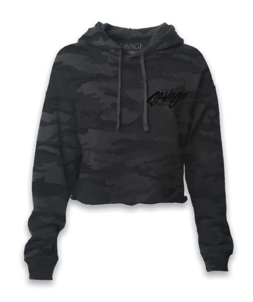 Black on Black Crop Camo Hoodie