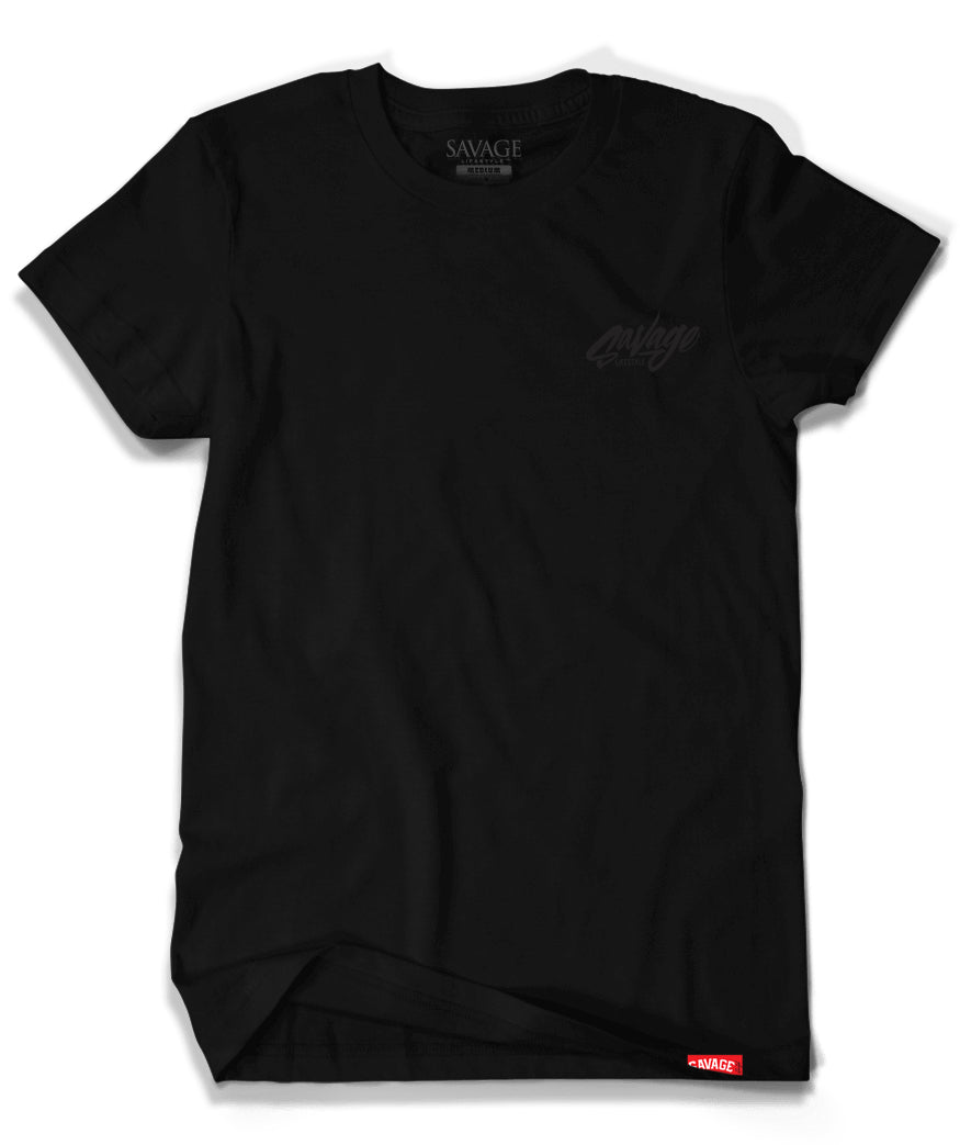 A Black on Black Savage t shirt.