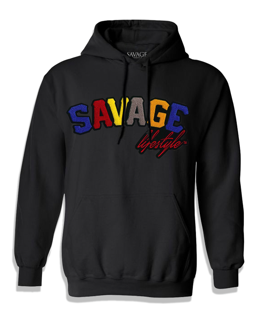 Black Savage Hoodie with color patch