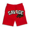 Savage All White jogger shorts in red