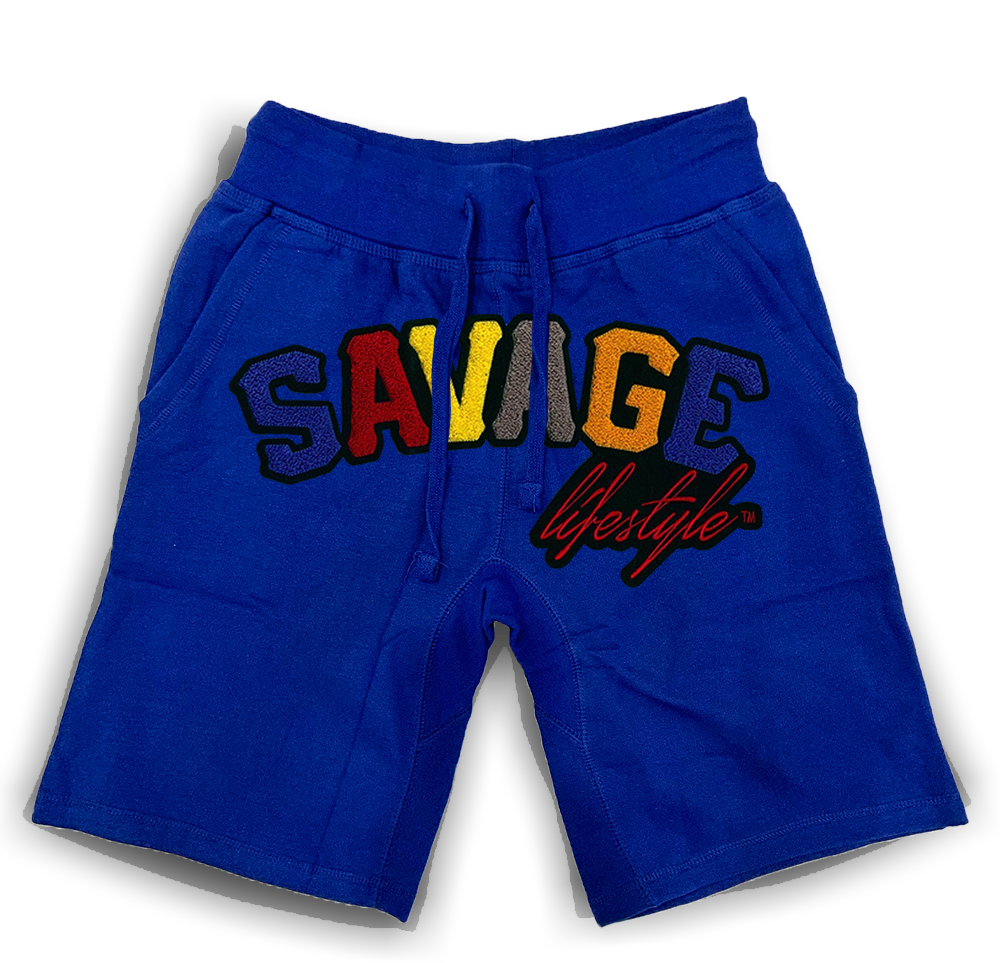 Savage Colorwave jogger shorts in royal