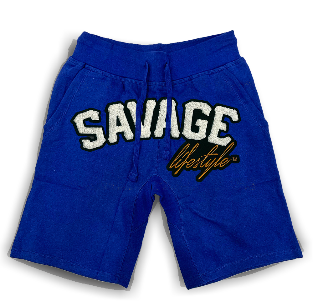 Savage All White jogger shorts in royal