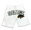 Savage All White jogger shorts in white