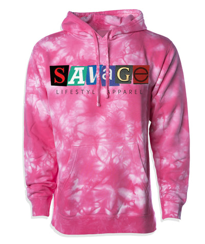 Savage Tie Dye Hoodie with Screen Print