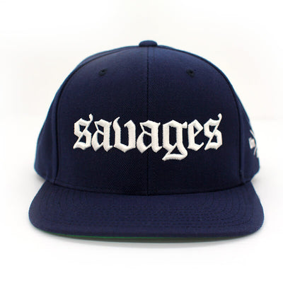 Savages Old English Snapback in navy