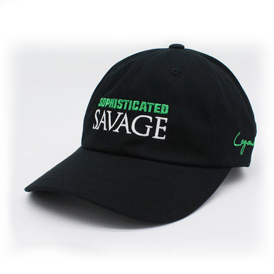 Sophisticated Savage Dad Hat -White & Green Stitch
