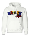 White Savage Hoodie with color patch