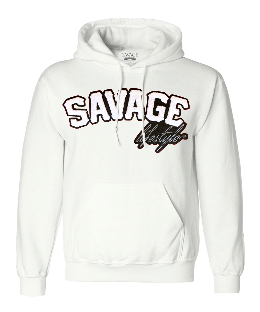 White Savage Hoodie with white patch