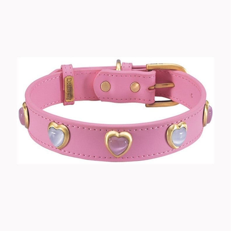HEART-PINK-_-WHITE-CAT-EYE-ON-DARK-PINK-DOG-COLLAR.jpg
