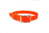 ORANGE BIOTHANE DOG COLLAR - OPTIONAL FITTINGS