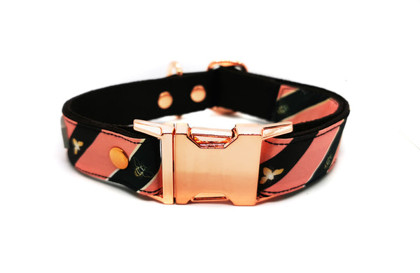 HONEY BEE PINK & KHAKI ON ROSE GOLD COLLAR