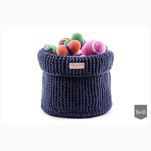 Navy Cotton Toy Basket - Jolly and Bea's - 1