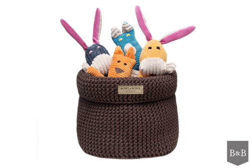 Brown Cotton Toy Basket